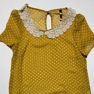 S Yellow & White Polka Dot Shirt- Lace & Beads